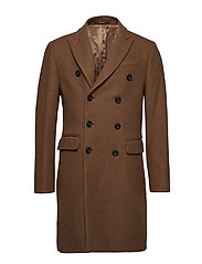 Double-breasted wool coat - DARK BROWN
