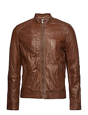 Leather biker jacket - DARK BROWN