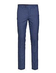 Slim-fit patterned suit trousers - MEDIUM BLUE