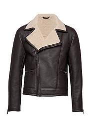 Faux shearling lining lapels jacket - BROWN