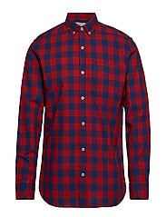Regular-fit check cotton shirt - RED