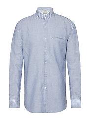 Regular-fit cotton linen-blend shirt - MEDIUM BLUE