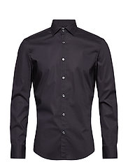 Slim-fit stretch cotton shirt - BLACK
