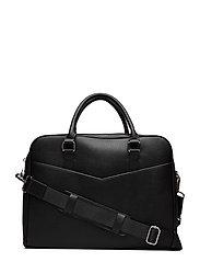 Zip-Pockets Pebbled Tote Briefcase