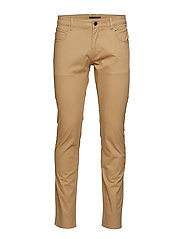 Slim-fit 5 pocket cotton trousers - MEDIUM BROWN