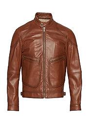 Leather elbow-patch biker jacket - DARK BROWN
