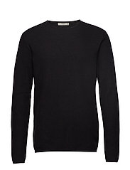 Structured cotton sweater - BLACK