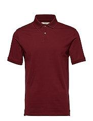 Contrast-edge cotton polo shirt - DARK RED