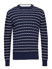 Knitted braided stripes sweater - NAVY