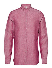 Slim-fit linen shirt - BRIGHT PINK
