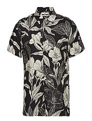 Regular-fit leaf-print shirt - BLACK