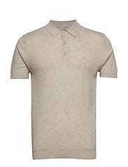 Cotton linen knit polo - LT PASTEL BROWN