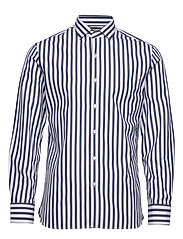 Slim fit striped cotton shirt - NAVY
