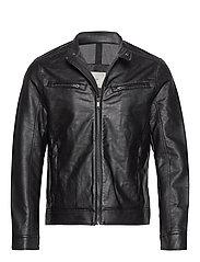 Faux-leather biker jacket - BLACK
