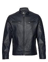 Faux-leather biker jacket - NAVY
