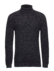 Flecked cotton wool-blend sweater - NAVY