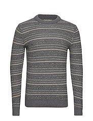 Striped open-work sweater - MEDIUM GREY