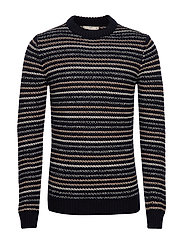 Striped open-work sweater - NAVY