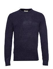 Textured wool-blend sweater - NAVY