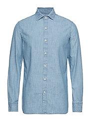 Slim Fit Cotton Chambray Shirt Skjorte Uformell Blå MANGO MAN