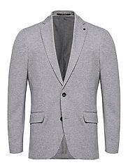 Slim fit elbow-patch cotton blazer - MEDIUM GREY