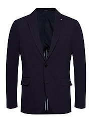 Slim fit elbow-patch cotton blazer - NAVY
