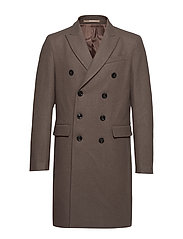 Double-breasted wool Tailored coat - MEDIUM BROWN