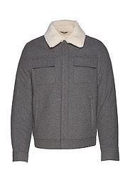 Faux-shearling wool aviator jacket - LT PASTEL GREY