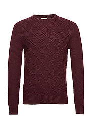Contrasting pattern sweater - DARK RED