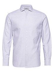 Slim fit fine-striped cotton shirt - NAVY