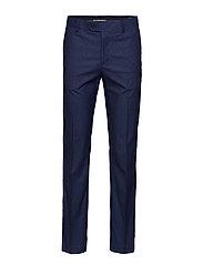 Slim fit microstructure suit trousers - MEDIUM BLUE