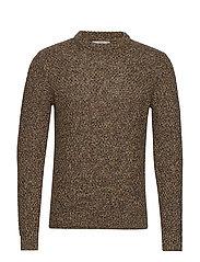 Openwork cotton sweater - MEDIUM BROWN