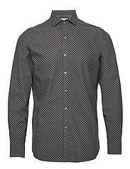 Slim fit printed cotton shirt - DARK GREY