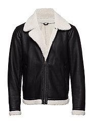 Faux shearling aviator jacket - BLACK