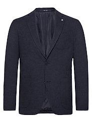 Textured slim fit blazer - MEDIUM BLUE