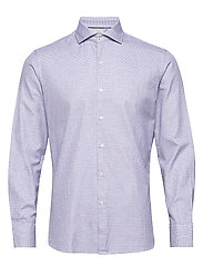 Slim fit micro houndstooth shirt - NAVY