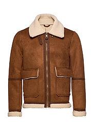 Faux-shearling suede effect jacket - DARK BROWN