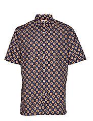 Regular Fit Geometric Print Shirt Kortermet Skjorte Multi/mønstret MANGO MAN