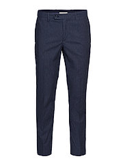Slim fit striped texture trousers - NAVY