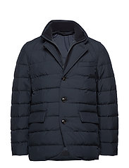Detachable water-repellent quilted anorak - NAVY