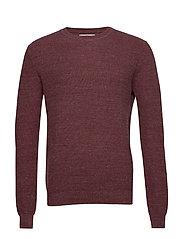 Structure wool cotton sweater - DARK RED