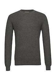 Structure wool cotton sweater - GREEN
