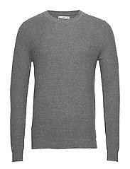 Structure wool cotton sweater - MEDIUM GREY