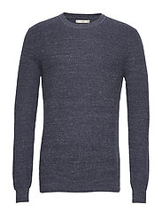 Structure wool cotton sweater - NAVY