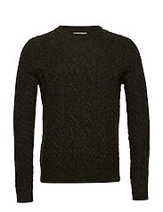 Neps braided wool sweater - BEIGE - KHAKI