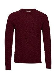 Neps braided wool sweater - DARK RED
