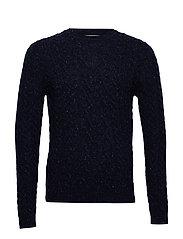 Neps braided wool sweater - NAVY