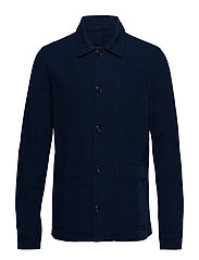 Buttoned cotton jacket - MEDIUM BLUE