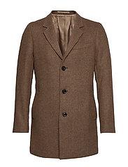 Flecked wool Tailored coat - MEDIUM BROWN