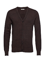 Structured wool cardigan - BROWN